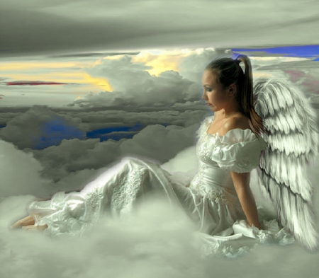 Angel at Sunset - creative, wings, beautiful, angel, pretty, lovely, female, girl, woman, sunset, fantasy, sweet, feminine