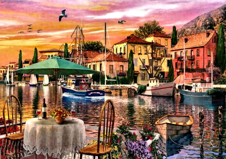 Sunset Harbour F - harbour, beautiful, artwork, painting, art, boats, illustration, wide screen