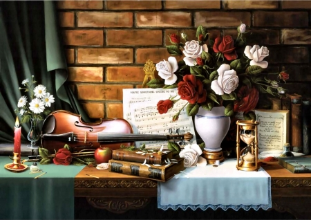 The Last Composition FC - art, illustration, wide screen, flowers, s, beautiful, sheet music, painting, books, hourglass, violin, still life, artwork