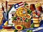 Sunflowers and Flag