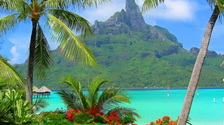 Bora Bora Resort,South Polynesia - bora, island, palm, polynesia, resort, mountains, nature, sea
