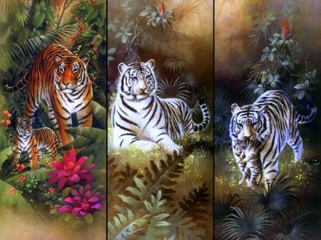 Tiger with Cubs - tigers, love four seasons, summer, animals, tropical, white tigers, forests, paintings, cubs, big wild cats, nature, collages, family