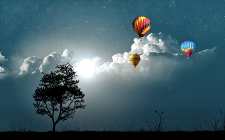 Balloons on cloudy Sky - Night, Nature, Tree, Sky