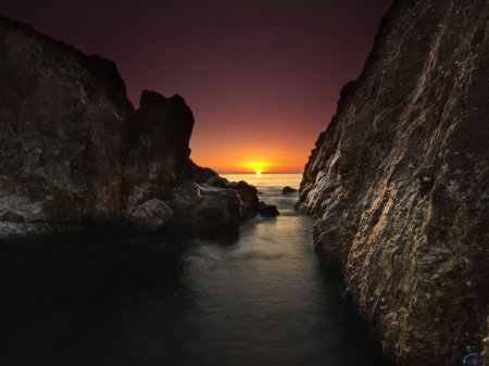 Sunrise on Rocky Coast - rocky, sunrise, stone, coast, nature, sea, rock