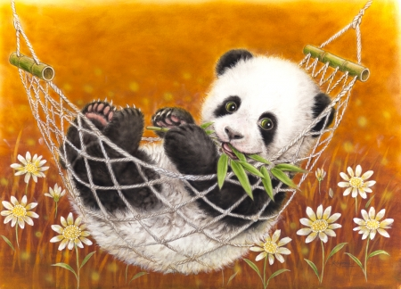 Cute Panda bear - kayomi harai, cute, hammock, art, panda, bear, orange, black, animal, flower, white