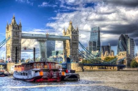 The City of London - Tower Bridge, buildings, River Thames, clouds, sky, Paddle Steamer