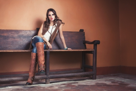 ~Cowgirl~ - brunette, boots, cowgirl, bench