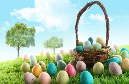 Easter Eggs - sky, basket, field, grass, Easter, Spring, Easter eggs, trees, clouds, eggs