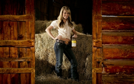 Carrie In A Barn. . - women, cowgirl, female, boots, barn, western, hay, style, Carrie Underwood, fun, blondes, country music, famous, girls, ranch