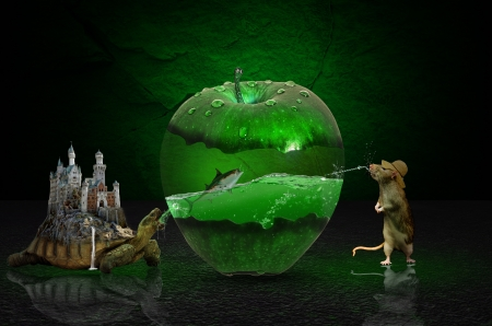 thirst, fantazy - green, water, Apple, thirst, turtle, rat, photoshop, manipulation, fantazy
