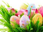 Decorated Eggs in Grass
