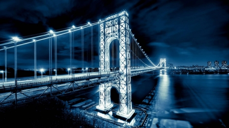 bridge in lights - cool, river, bridge, architecture, fun