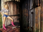 Cowgirl At A Old Mine Entrance . .