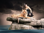 Fantasy Lady With Tiger