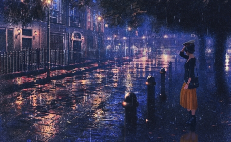 Rainy night ah my goddess anime background wallpapers - Anime rain wallpaper ...