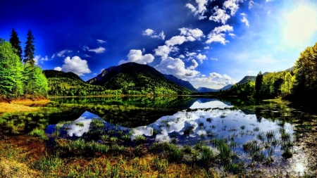 Lake in Reflection - lake, mountains, clouds, forest, sky, nature, reflection, trees