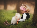 Little girl and a bunny