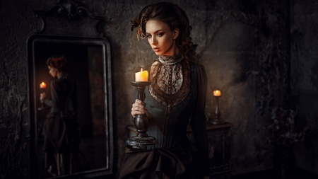 Lovely Maiden - model, mirror, candles, woman