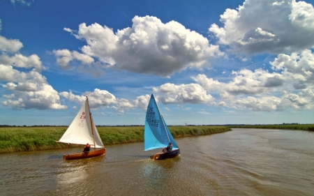 Sailboats - sailboats, clouds, sky, river, summer