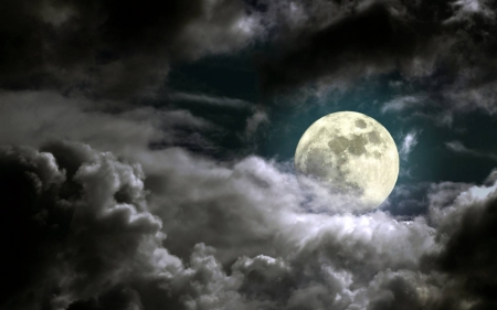full moon in the clouds - moon, space, cool, clouds, fun