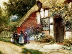 Children Playing Outside a Cottage