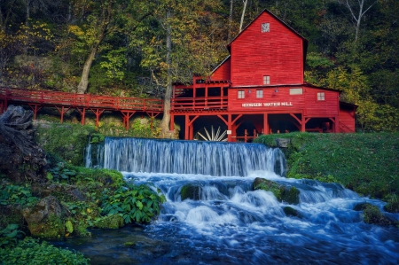 Hodgson Water Mill - Hodgson Mill, foliage, Ozark County, trees, rocks, mill, waterfall, Missouri, Hodgson Water Mill, water, building, bridge, water mill, Ozark Missouri