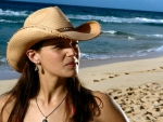 Cowgirl On A Beach. .
