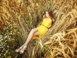 Model in a Wheat Field