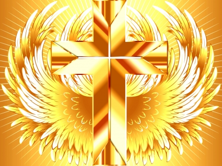 He is Risen - He is Risen, Easter, Happy Easter, Gold, Wings