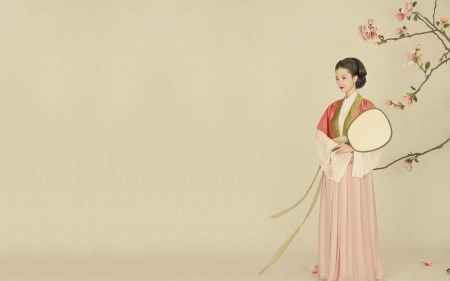 Gardenia - fan, flower, woman, asian, hanfu, art, gardenia, pink, girl, chinese