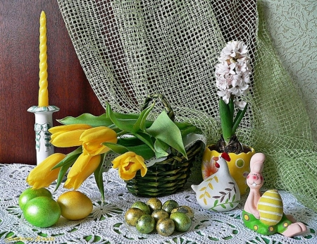 Still life - candle, eggs, hyacinth, still life, bunny, basket, tulips, easter