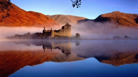 Ancient Kilchum Castle,Scotland - lake, dust, mountains, landscape, castle, nature