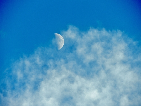 Cloudy Moon - Clouds, Moon, Space, Sky, Photography