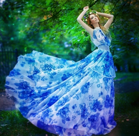 fashion blue - blue, models, fashion, beauty, photography
