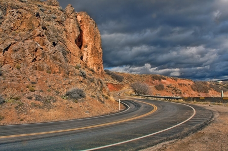 Utah State Highway 66 - clouds, mountains, road, usa, sky