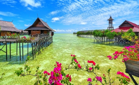 Floating Resort/Paradise - island, green, walkway, bungalows, resort, nature, ocean, beach, clouds