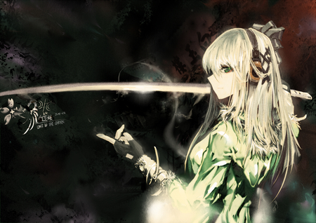 She loves her sword - headphones, ribbon, katana, anime, white hair