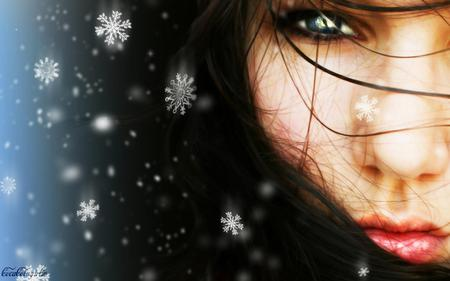 Winter is Her Name - woman, snow flakes, snow, pretty, face, girl