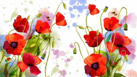 Painted Poppies - paint, watercolor, poppies, splatter, painted, flowers, summer, spring, art, bright, bees, Firefox Persona theme
