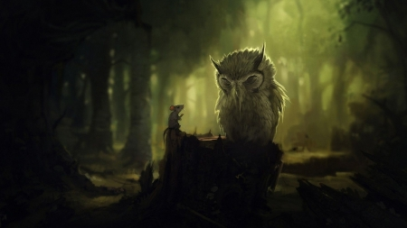 Owl and the Mouse - fantasy, owl, woods, forest, imagination, mouse, Firefox Persona theme, story, green, fairy tale