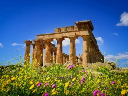 Ancient Hera Temple,Greece - greece, beautiful, sky, woldflowers, hera, goddess, ancient, temple