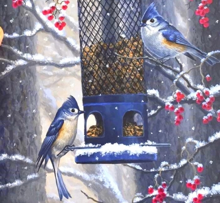 Dinner on a Cold Day - paintings, animals, cherries, snow, nature, winter, birds, love four seasons, bird feed, bluejays