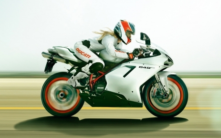 Ducati 848 EVO - ducati, Ducati 848 EVO, roads, vehicles, woman, motorcycles
