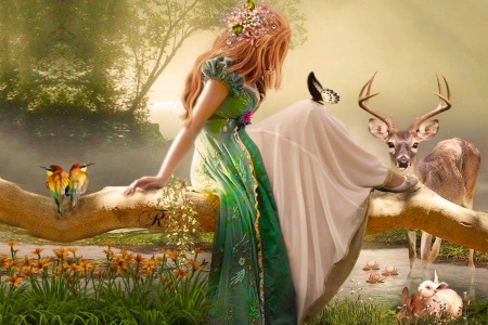 Fantasy World - lillies, Woman, sweetness, fantasy, Flowers, rabbits, deer, birds, Red hair