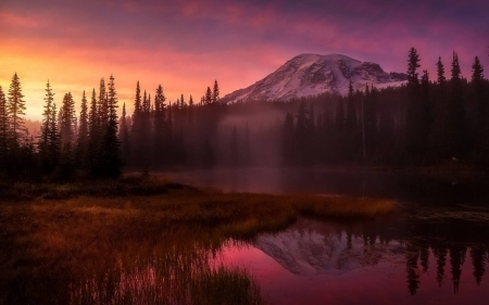 misty sunset - fun, mountain, nature, cool, lake, forest