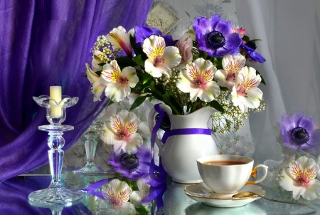 Tea time - still life, time, beautiful, tea, pretty, vase, flowers, spring, candle, coffee, lovely, bouquet