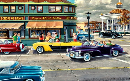 The Late Shift F - beautiful, artwork, auto, painting, art, illustration, wide screen, cars, automobile, cityscape