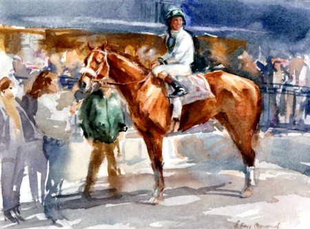 An Overbrook Entry with Jockey Up - Horse - painting, art, equine, animal, illustration, wide screen, beautiful, artwork, thorobred, horse, thoroughbred, jockey