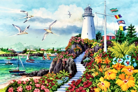 Coastal Paradise F1Cmp - lighthouse, painting, scenery, seascape, architecture, illustration, art, artwork, wide screen, beautiful, flowers, coastal, gulls, flags
