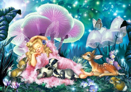 Fairy Asleep And Baby Badgers - butterfly, fawn, atwork, rabbit, painting